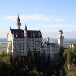 A bird's eye view by helicopter of castle Neuschwanstein
